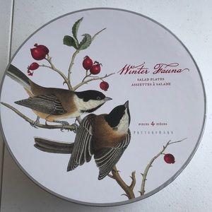 Pottery Barn winter Fauna set of 4 salad plates